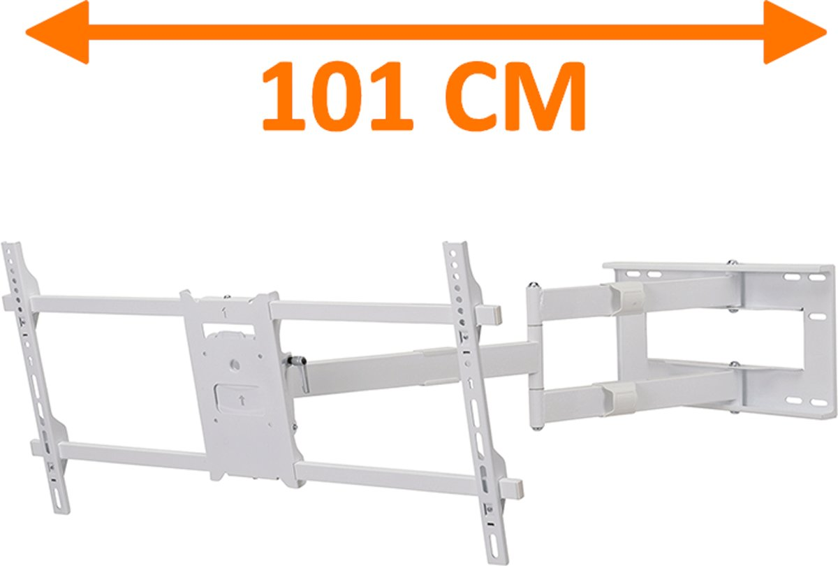DQ Wall-Support DQ Reach XXL 101 cm Extra Lange TV Beugel Wit kopen