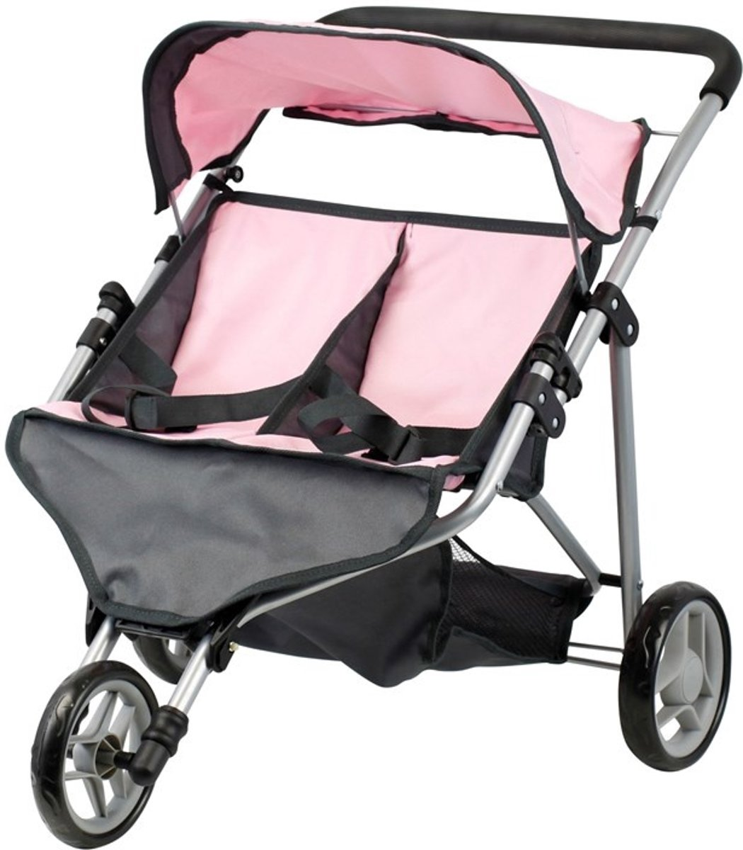 Mini Mommy Poppenwagen buggy Tweeling Roze/grijs 65 X 48 X 56 Cm