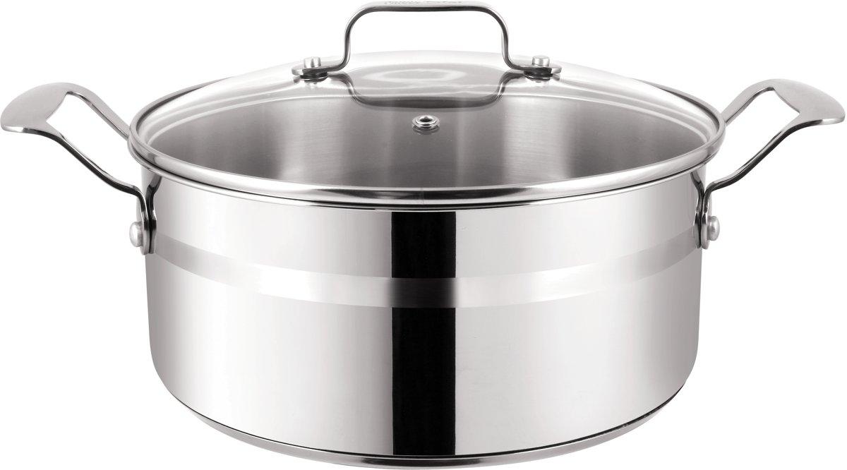 Tefal Jamie Oliver Stainless Steel Brushed Kookpan - Met glazen deksel - Ø 24 cm