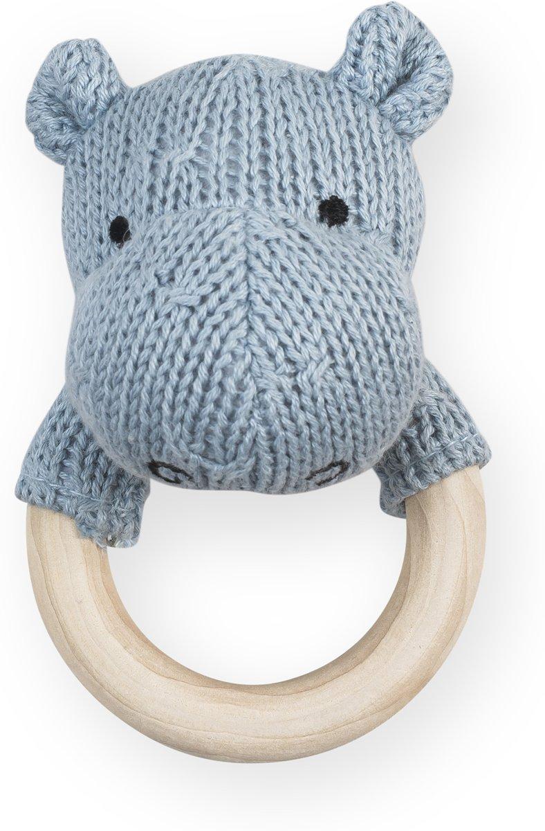Jollein Soft knit Rammelaar bijtring Ø 7cm hippo soft blue