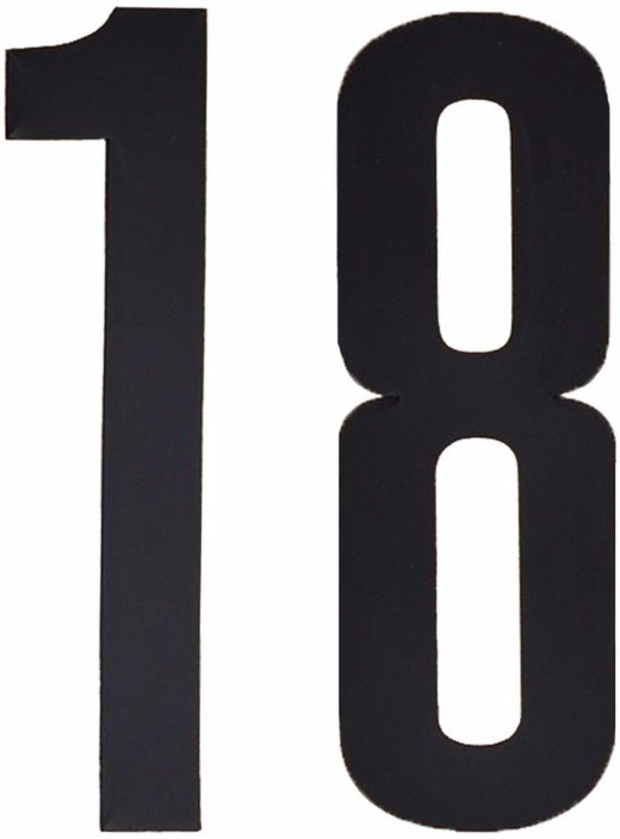 Cijfer sticker 18 zwart 10 cm
