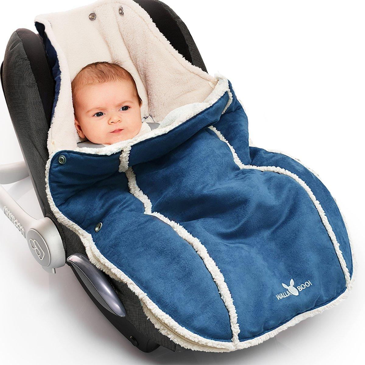 Wallaboo voetenzak - prachtig suède gevoerd met bont - geschikt voor 0 tot 12 maanden - past in elk autostoeltje groep 0 - Blauw kopen