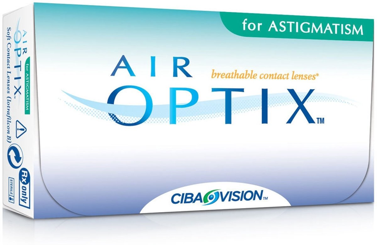 Foto van +0,25 Air Optix for Astigmatism (cil -0,75 as 100) - 6 pack - Maandlenzen - Contactlenzen
