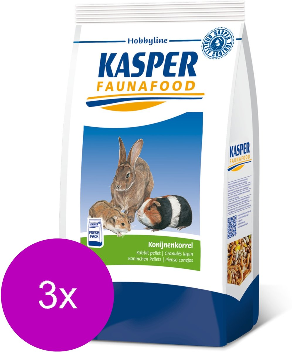 Kasper Faunafood Konijnenkorrel - Konijnenvoer - 3 x 4 kg