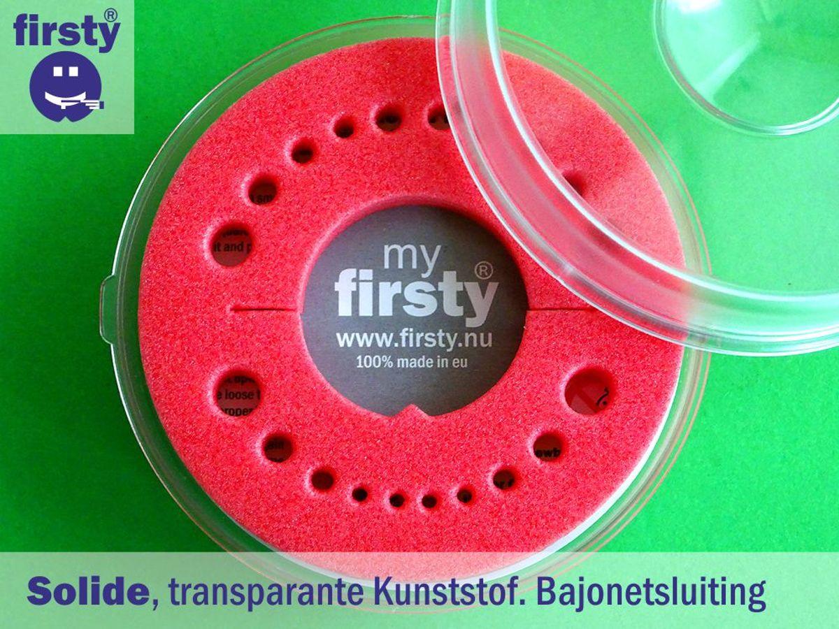 Anne neemt haar/zijn melktandjes mee naar school in Tandendoosje - rood - jongen / meisje - Firsty® Round - NL tekst - inclusief koelkastmagneet - Gratis verzending elke DI en VR (13.30)