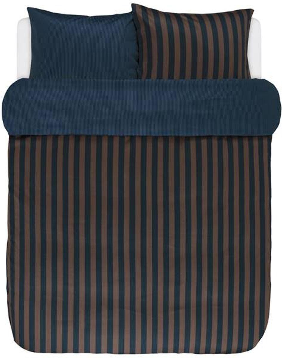 Marc O'Polo Classic Stripe - Dekbedovertrek - Lits-jumeaux - 240x200/220 cm + 2 kussenslopen 60x70 cm - Marine/Earth Brown kopen