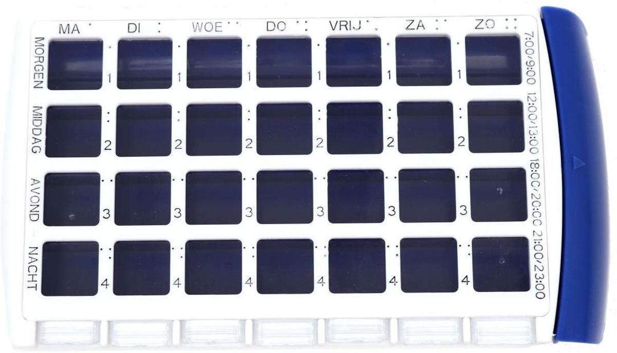 Foto van Comfort Aid 7-Dagen Pillendoos – 10x17x3cm   Doos met Medicijnen Planner met Indeling voor 7 Dagen   Pillen doos met Verschillende tijden Aangegeven