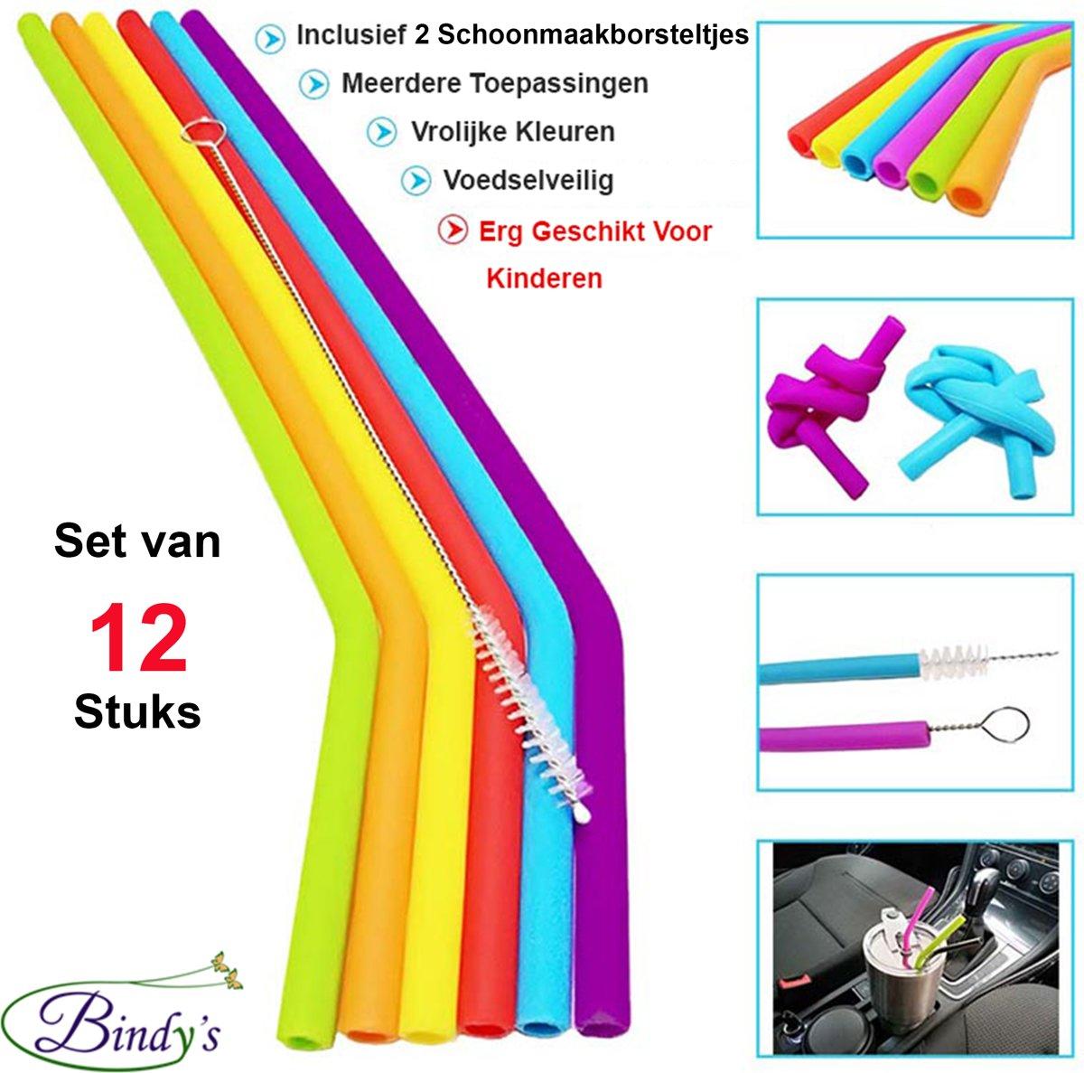 Herbruikbare Siliconen Rietjes - Set Van 12 – Met 2 Schoonmaakborsteltjes En Bewaarzakje – Vrolijke Kleuren – Ideaal Voor Kinderen