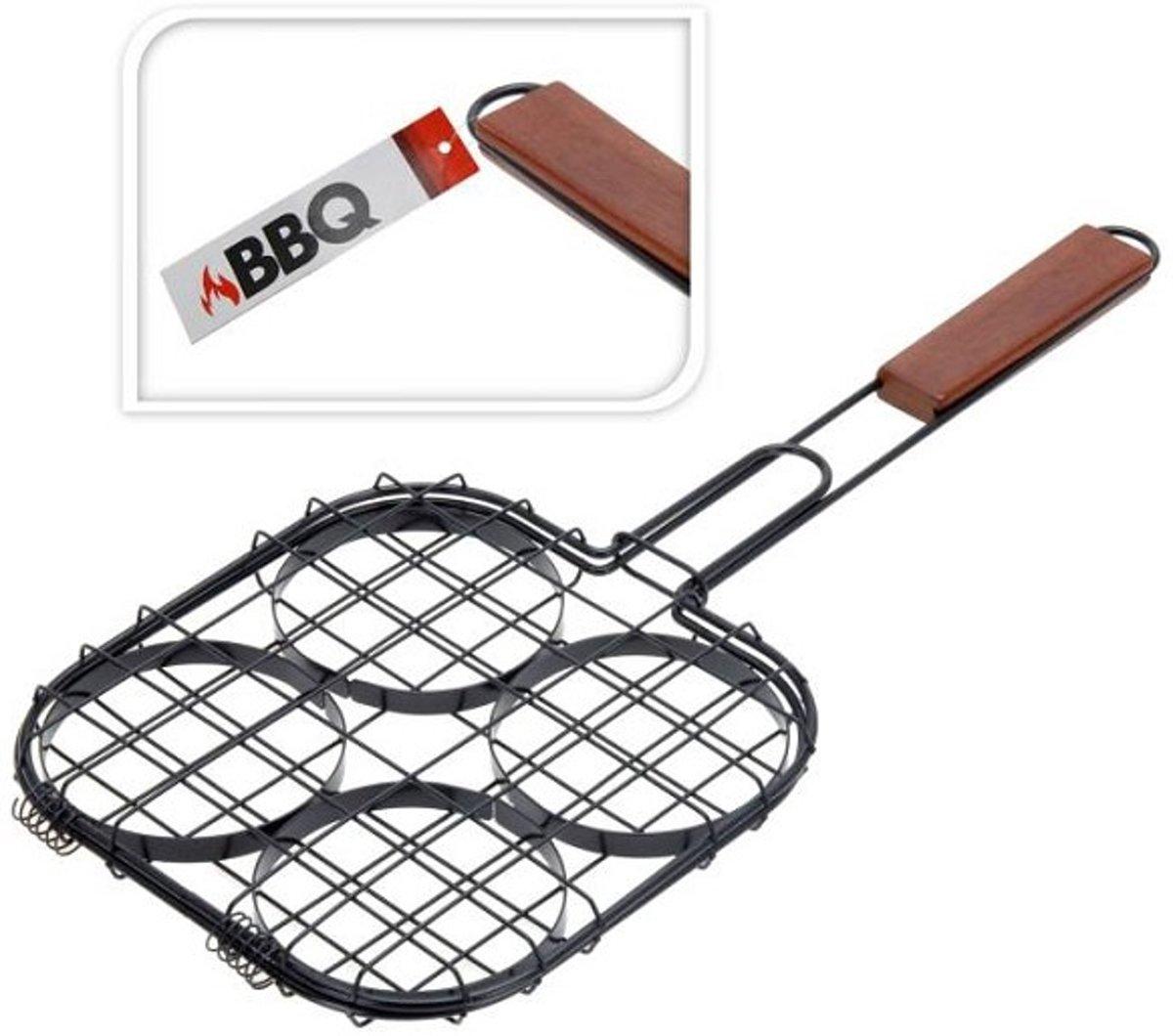 BBQ barbecue grillklem voor 4 hamburgers kopen