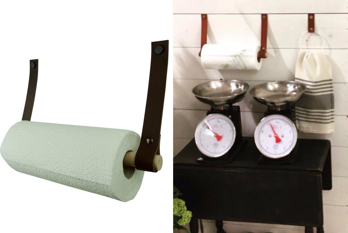 Leren keukenrolhouder - Donkerbruin kopen