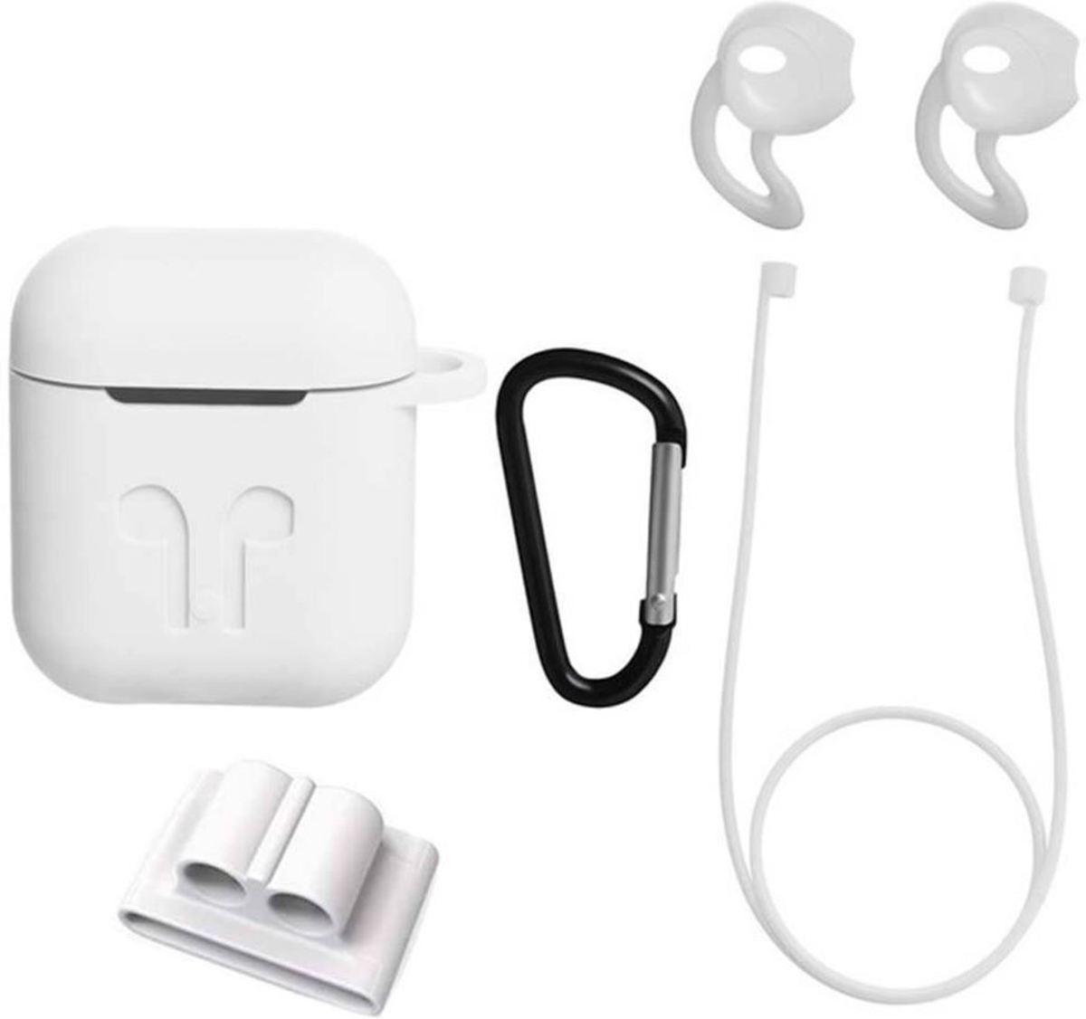 Siliconen Case Cover voor Apple Airpods - 5 in 1 set met Anti Lost Strap en Haak - Wit kopen