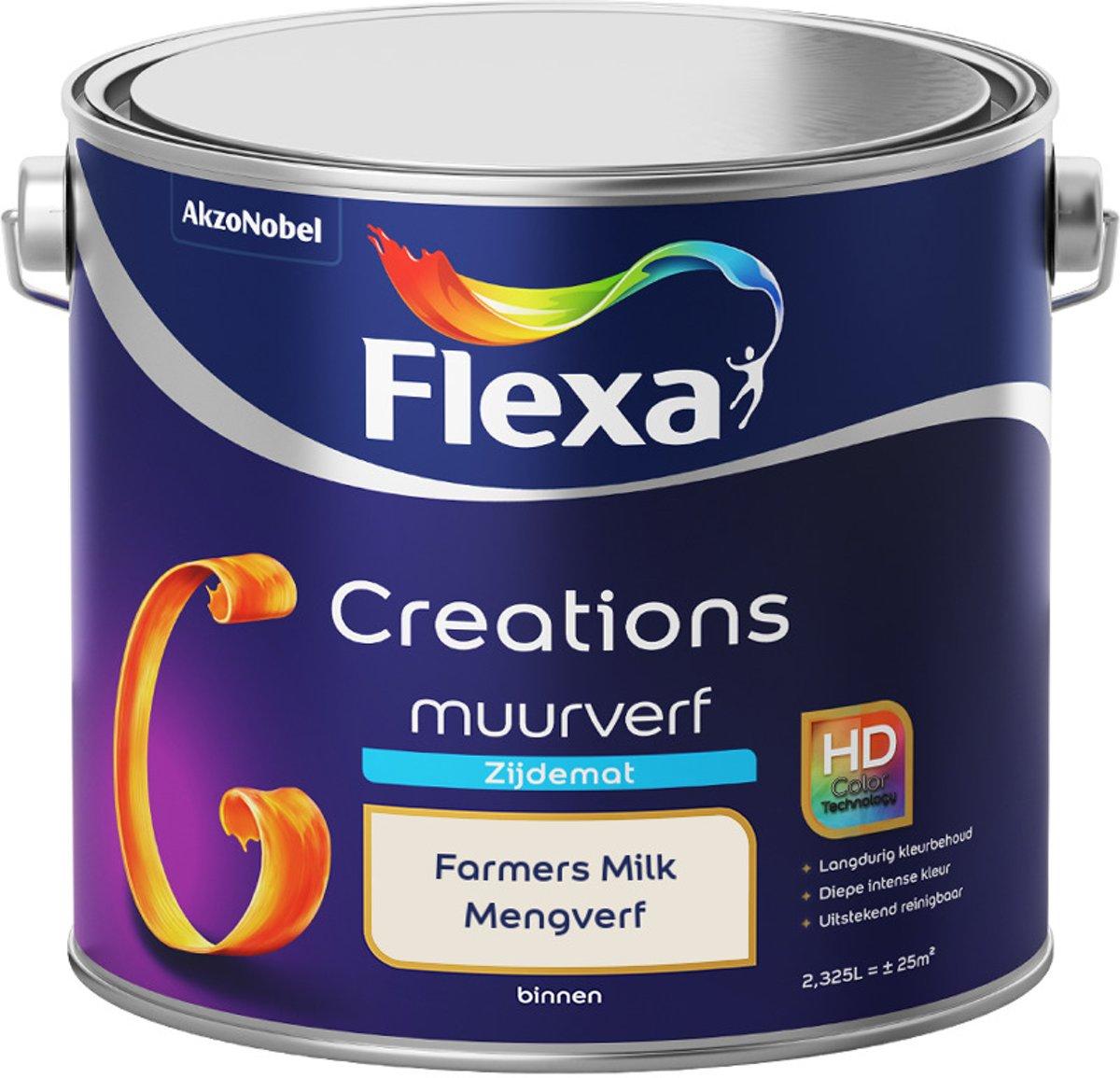 Flexa Creations - Muurverf Zijde Mat - Mengkleuren Collectie - Farmers Milk - 2,5 Liter