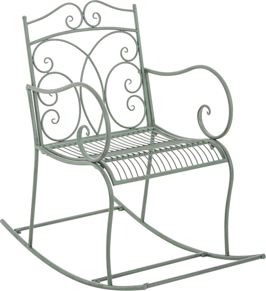 Clp Schommelstoel EDITH, tuinstoel, terrasstoel, balkonstoel, vintage, country live stijl, retro, nostalgisch, landhuisstijl, relaxstoel - antiek-groe