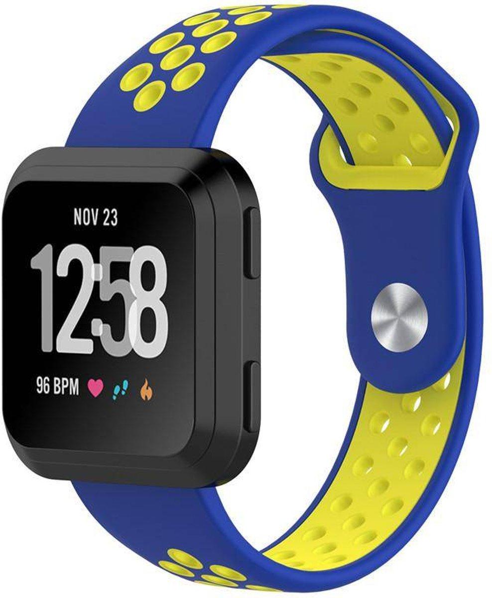 Siliconen Sport Bandje voor de Fitbit Versa - Blauw / Geel kopen