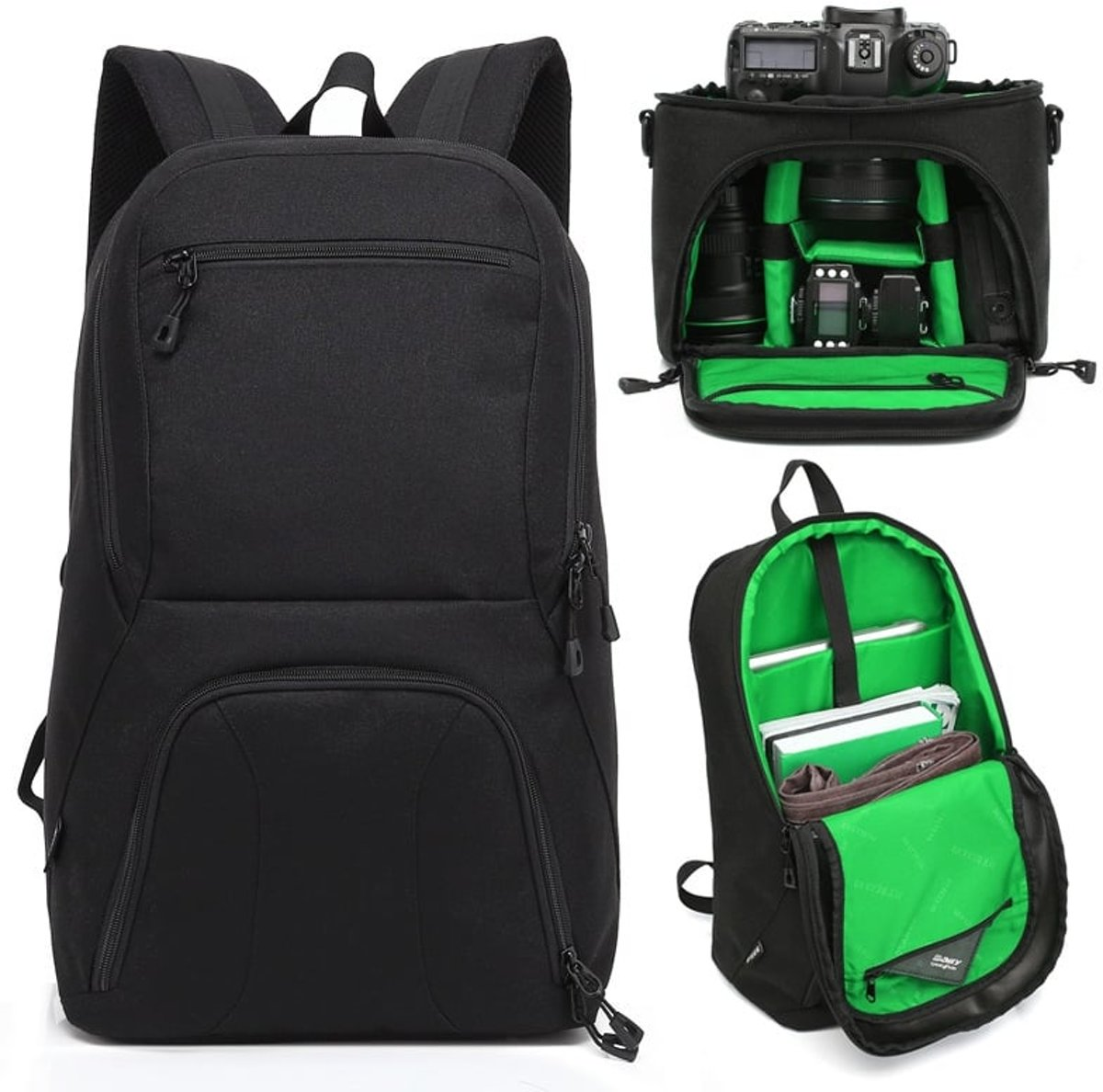 HUWANG 2 in 1 Waterproof Anti-theft Outdoor Dual Shoulders Backpack + Shockproof Camera Case Bag(Green) kopen