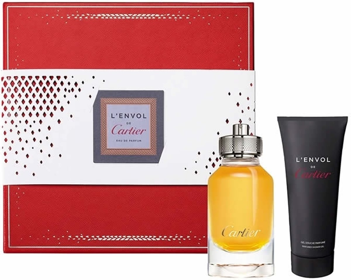 2 delige cadeau set Cartier L'Envol Eau De Perfume Spray 80ml + Shower Gel 100ml voor €33,80