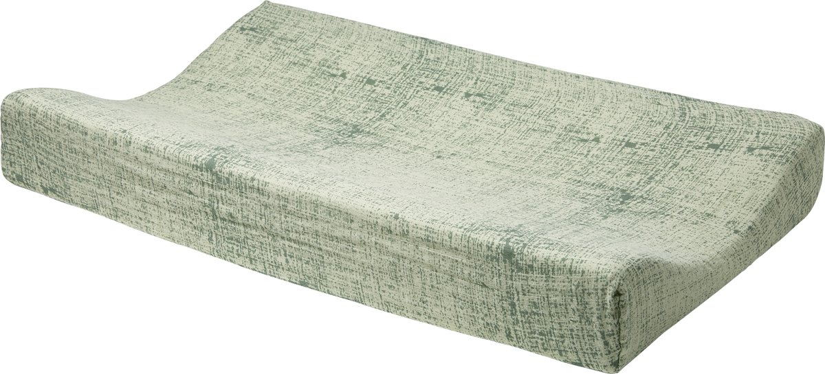 Meyco hydrofiel aankleedkussenhoes Fine lines - forest green/mint