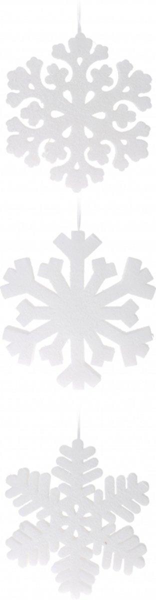 Sneeuwvlok sneeuw hangdecoratie versiering wit 30 cm 1x kopen