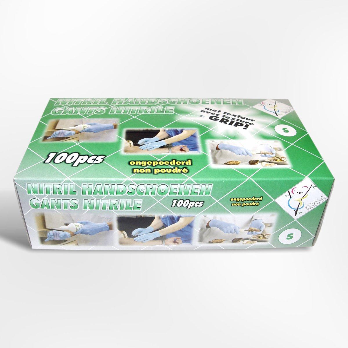Nitril handschoenen 10 x 100 stuks blauw poedervrij - Latexvrij - Small - Aanvaardbaar kwaliteitsniveau 1.5 tegen biologische besmetting - Nitrile kopen