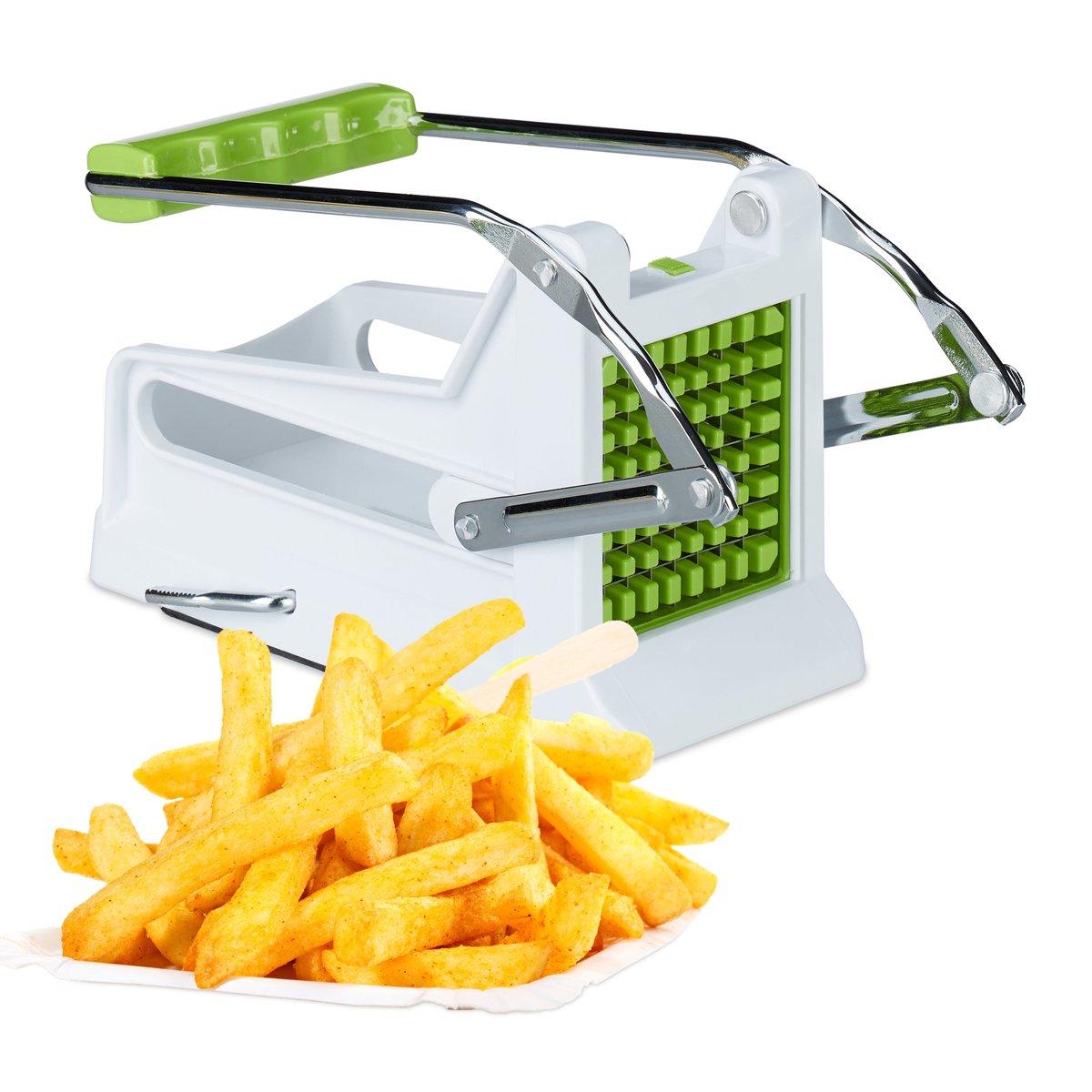 relaxdays frietsnijder - handmatig - patatsnijder - groentesnijder - 2 messenramen - groen kopen
