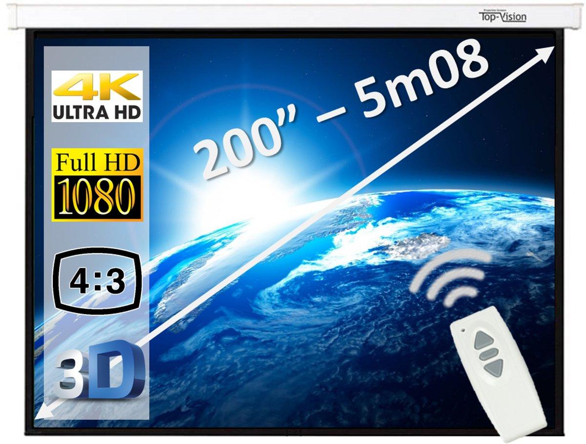 """Elektrisch projectiescherm met afstandsbediening - 200"""" / 508cm kopen"""