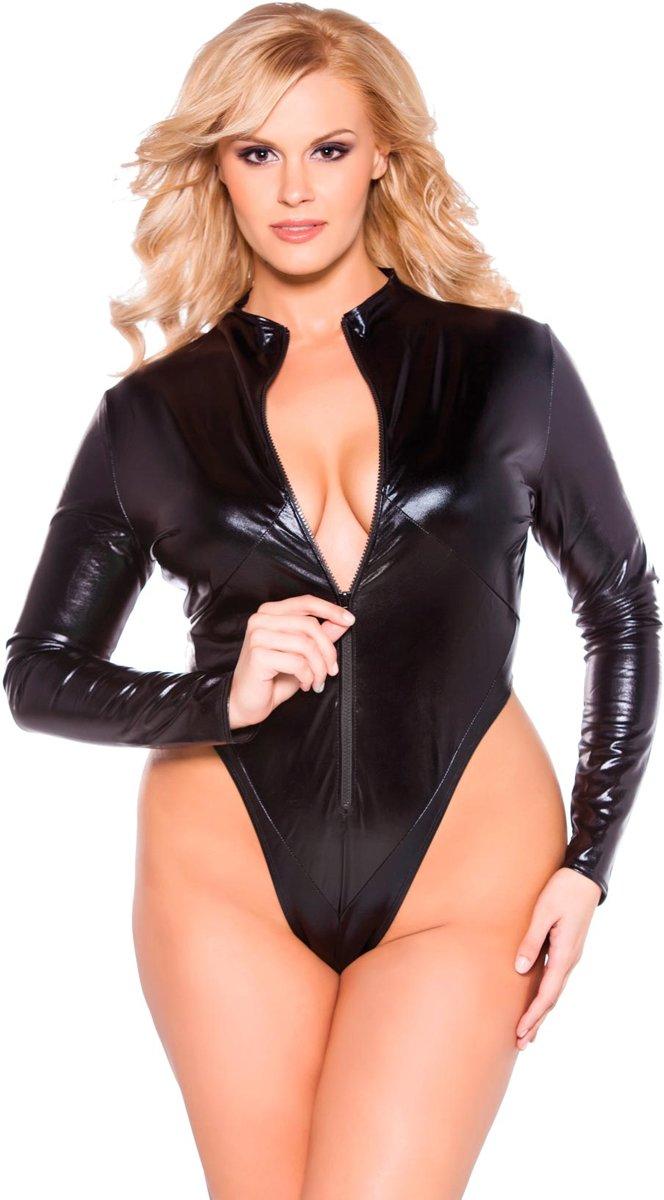 Foto van Allure Kitten Plus Size Wet look Body Lange Mouwen - zwart - XL/XXL