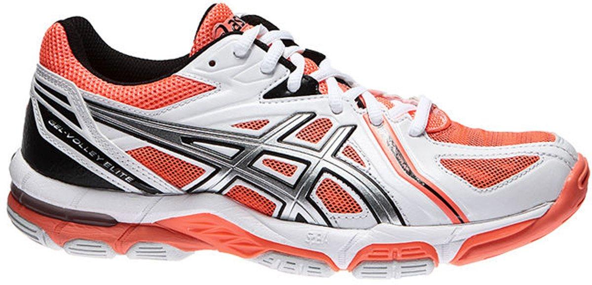 Asics Gel-Volley Elite 3 Indoorschoenen dames Sportschoenen - Maat 43.5 - Vrouwen - wit/oranje/zwart/grijs