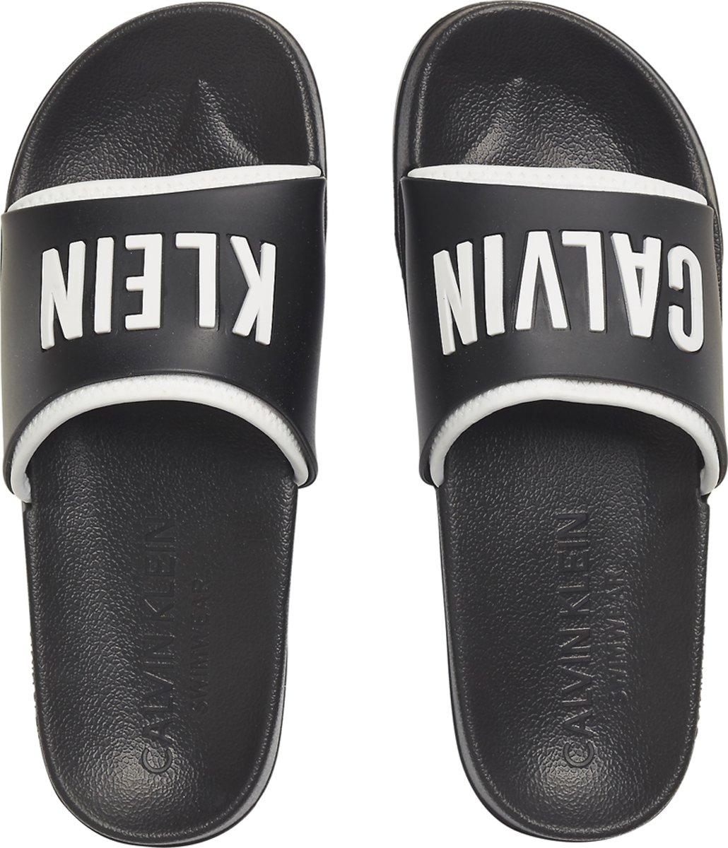Calvin Klein - Slide Badslippers Zwart Wit - 41-42 kopen