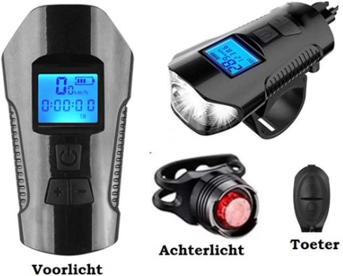 Seidon™ - Fietslamp - Fietsverlichting - Fietslampjes - Fiets Snelheidsmeter - LED Display - Klok - Fietsbel
