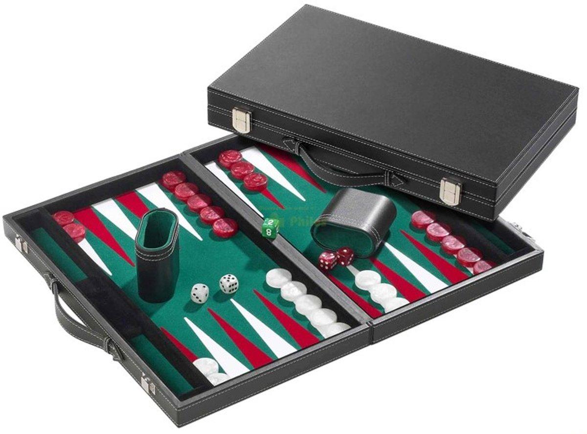 Backgammon Koffer Groot Standaard (Groen)