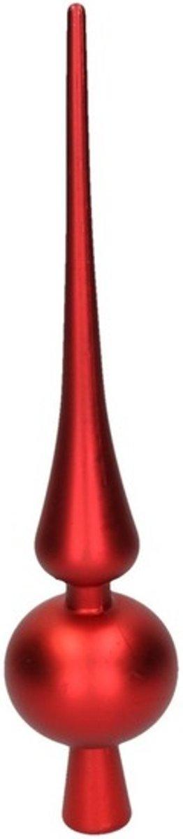 Rode kerstboom piek 28 cm mat/matte - Kunststof/plastic - Onbreekbare kerstboomversieringen rood kopen