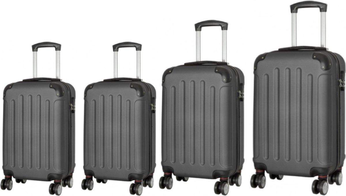 4 delig kofferset antraciet Top kwaliteit. kopen
