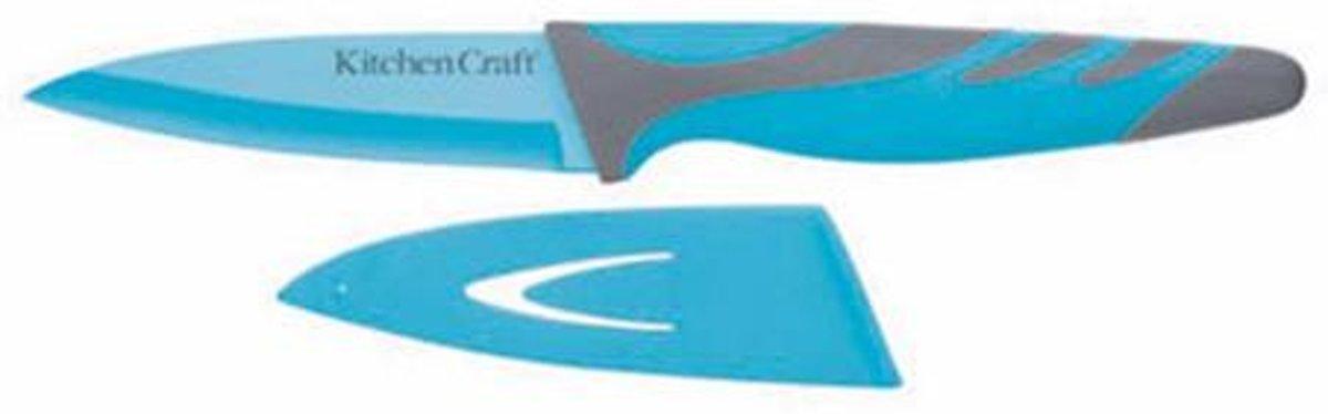 Mes met beschermhoes - 8.5cm - Colour Works - Blauw kopen