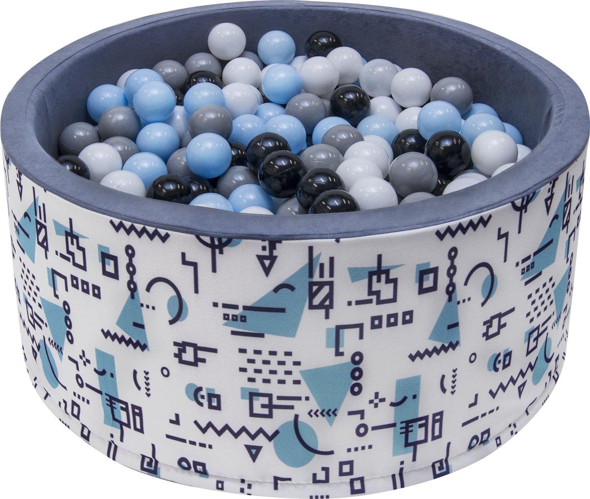 Ballenbak | Patroontjes blauw incl.  200 witte, grijze, zwarte en blauwe ballen