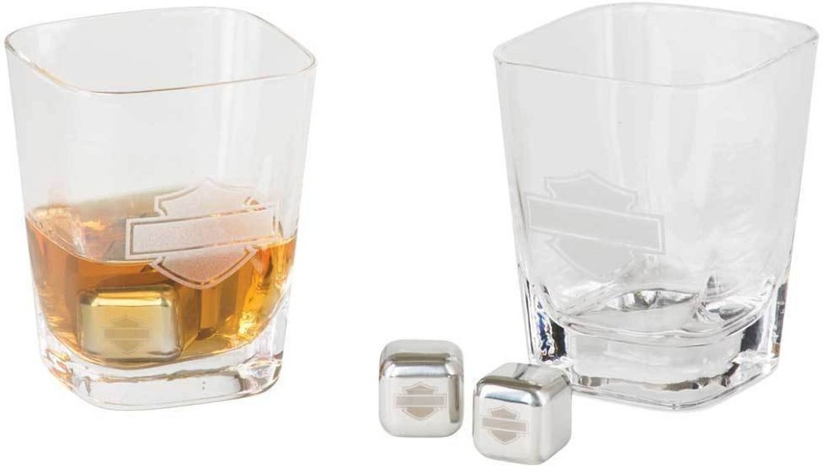 Harley-Davidson Silhouette Logo On The Rocks Whiskey Glazen Set kopen