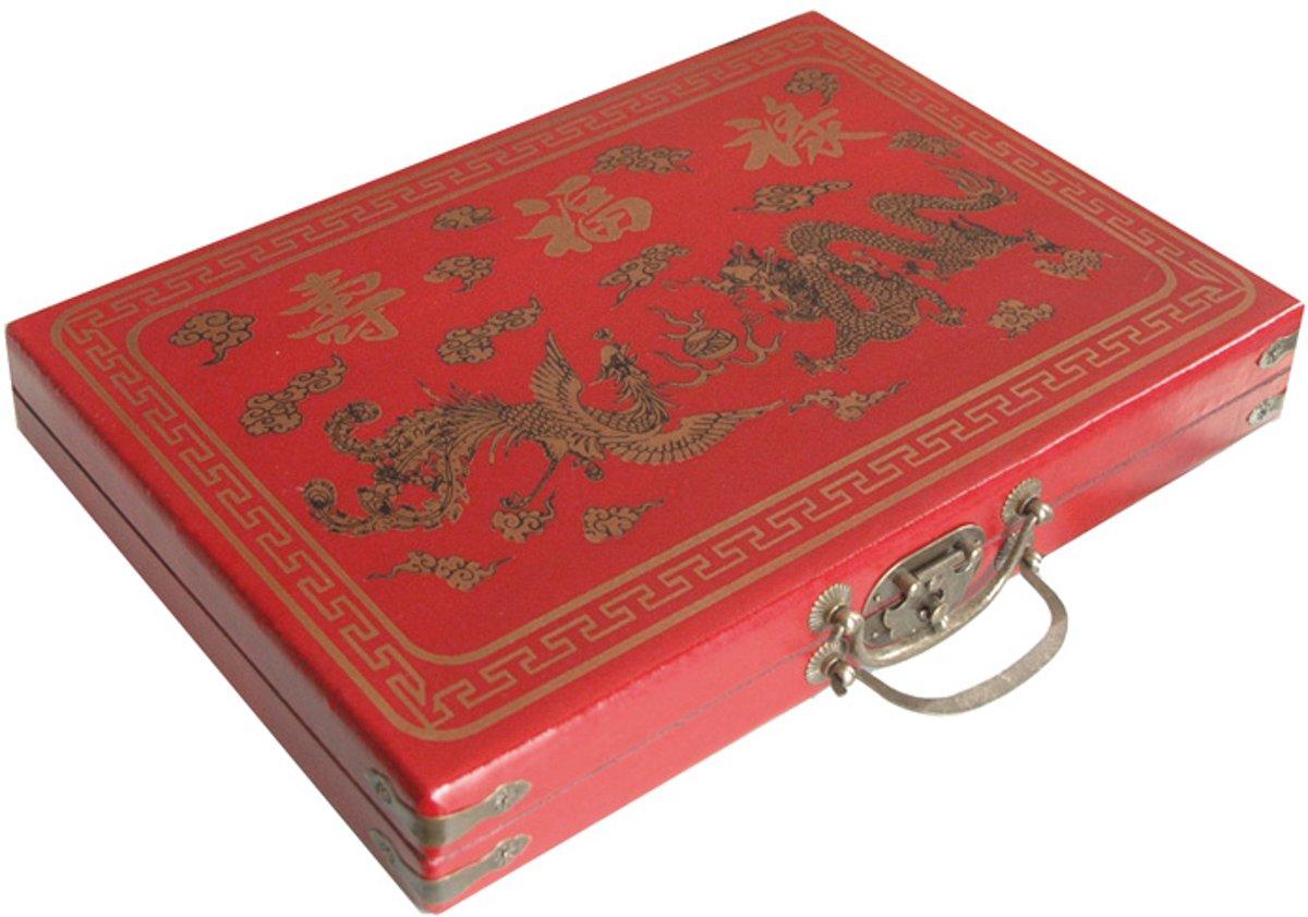 Mah-Jong in luxe rode houten koffer M