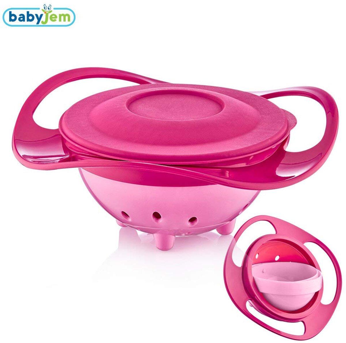 Babyjem Roze Amazing Kom, 360 Degree Rotatie , Met Klep , Kind kom, baby voeden , BPA Vrij , Leuk , Functioneel , Baby's voeden kopen