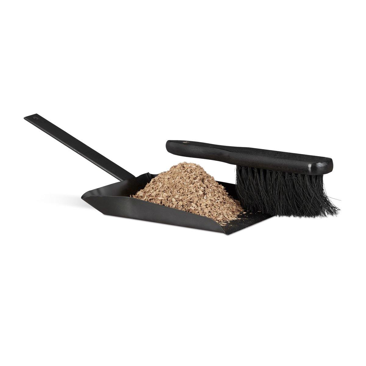 relaxdays stoffer   blik staal - handveger en blik - zwart - binnen   buiten gebruik 37 cm kopen