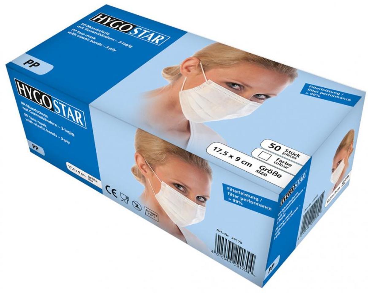 Hygostar mondmasker medisch 3-laags wit 50 stuks met oorelastiek - Hygostar