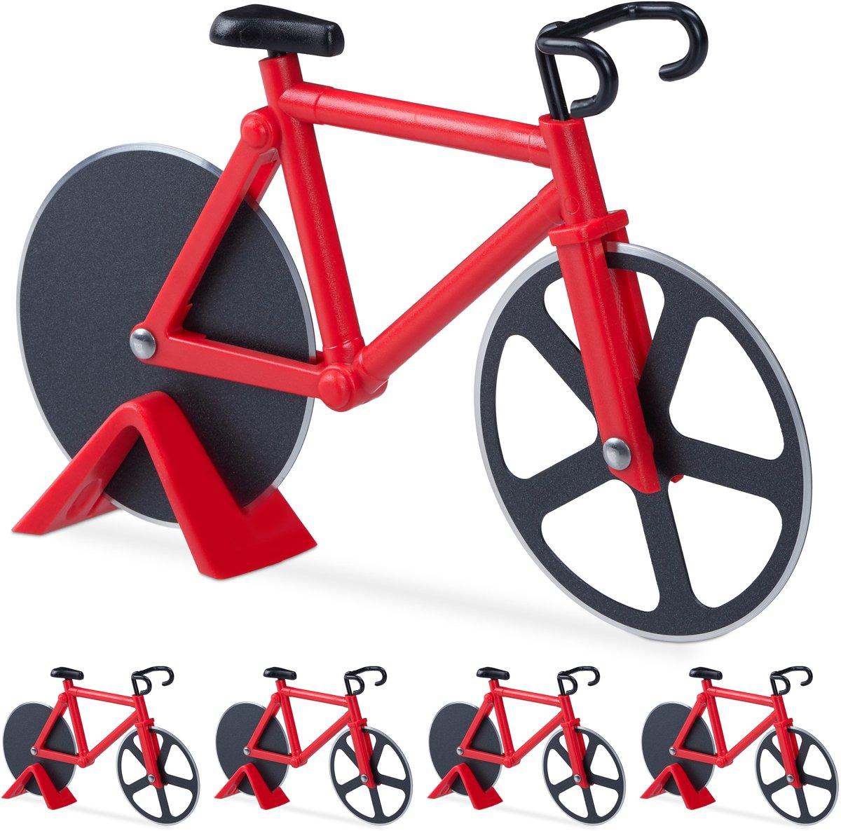 relaxdays 5 x pizzasnijder fiets - pizzames racefiets - pizzaroller - deegroller - rood kopen