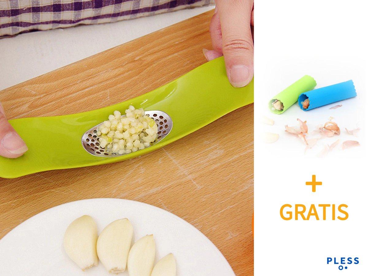 1+1 gratis - Knoflookpers + Knoflookpeller - Knoflookpers Groentenpers Groentesnijder kopen