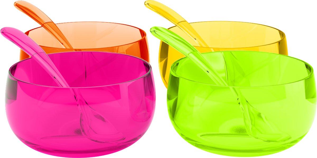 Zak!Designs Stacky - IJsschaaltjes - 11 cm - Inclusief 8 IJslepel - Multicolor kopen