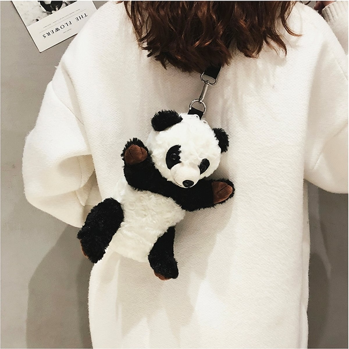 Panda vorm Leisure Fashion Cute pluche Slant schoudertas