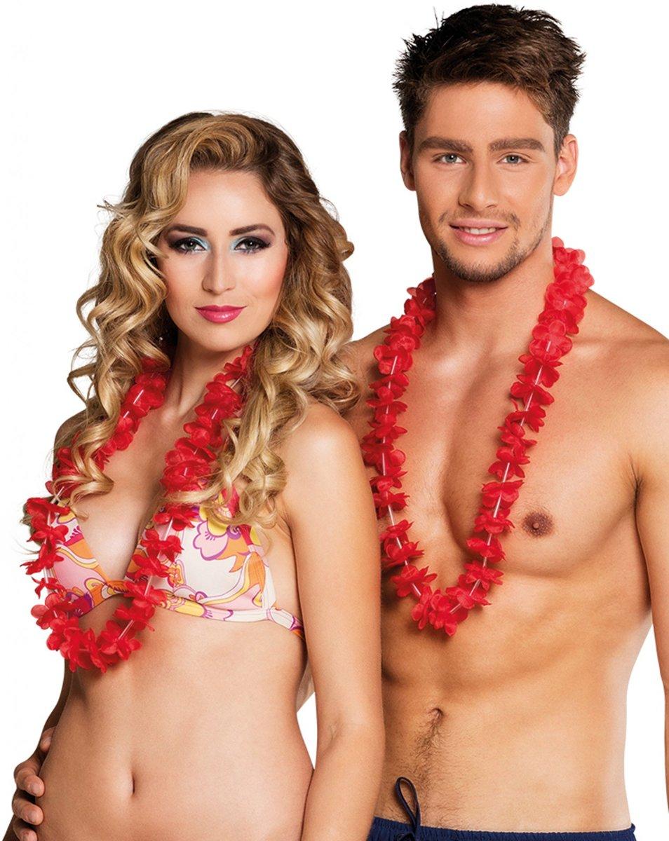 Hawaiikrans Ohana rood set 25 kopen