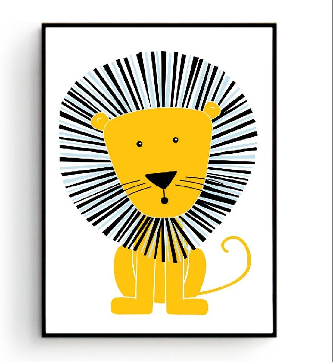 Postercity - Design Canvas Poster Stoere Leeuw / Kinderkamer / Muurdecoratie / 40 x 30cm / A3