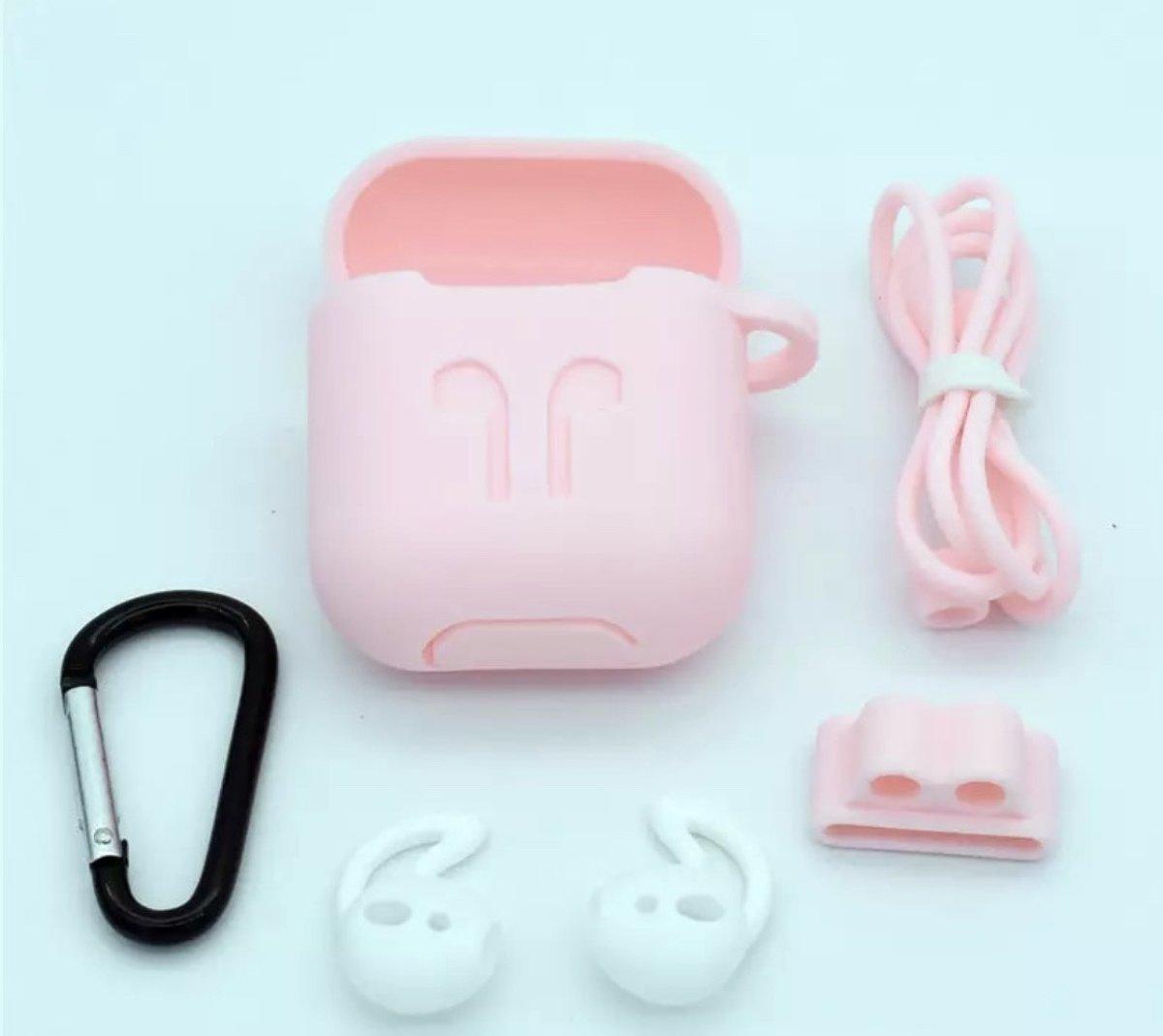 Airpods Hoesje Rose - Siliconen Case Cover voor Apple Airpods - 5 in 1 set met Anti Lost Strap en Haak kopen