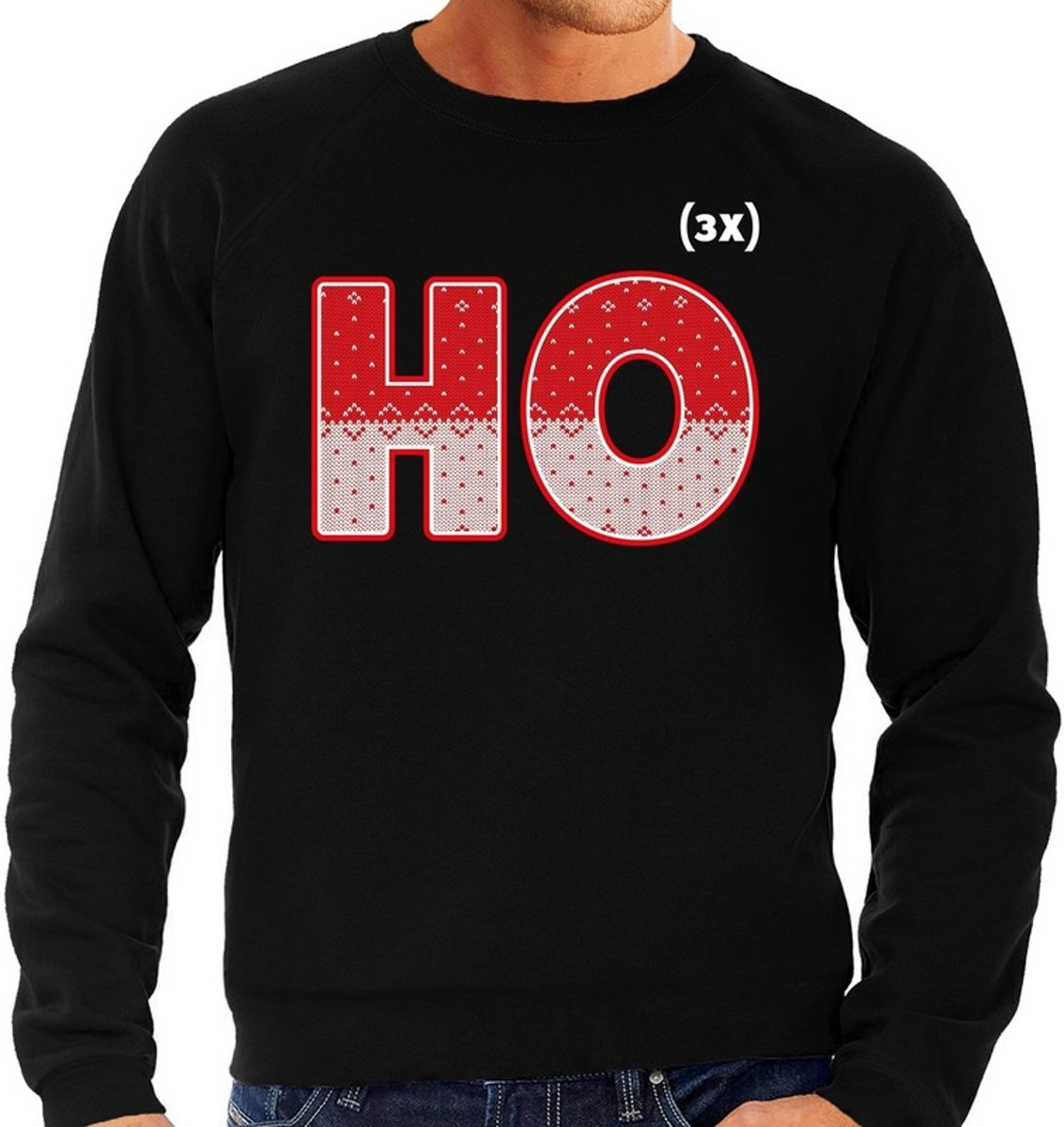 Foute Kersttrui / sweater - ho ho ho - zwart voor heren - kerstkleding / kerst outfit 2XL (56) kopen