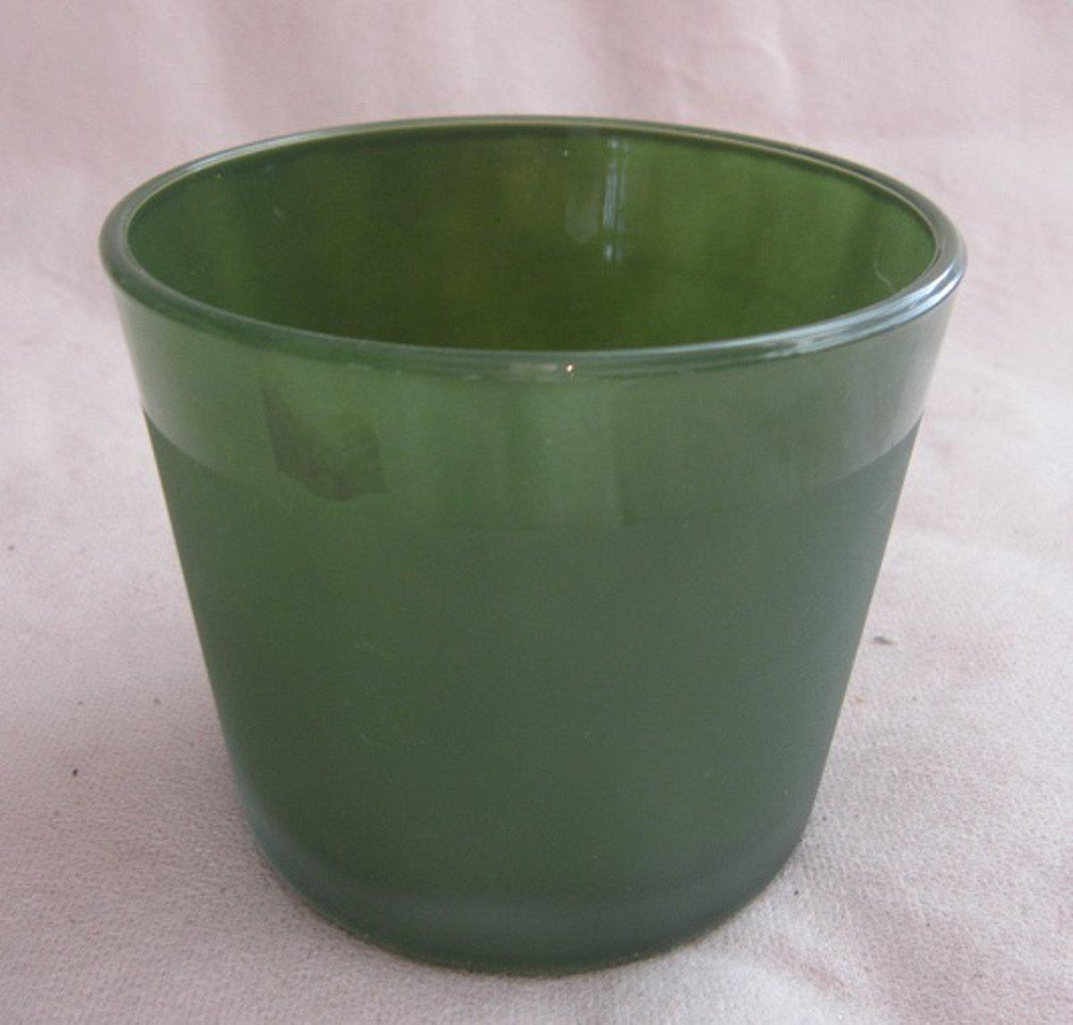 Dik glas overpot/bloempot mosgroen, 8,5 x 10 cm rond