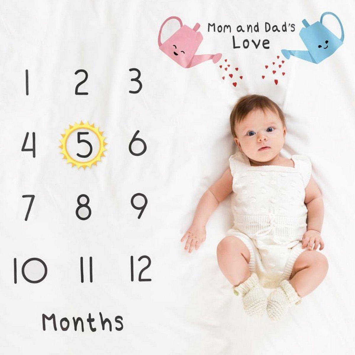 Baby mijlpaaldoek - mijlpaaldeken - milestone - Gieter