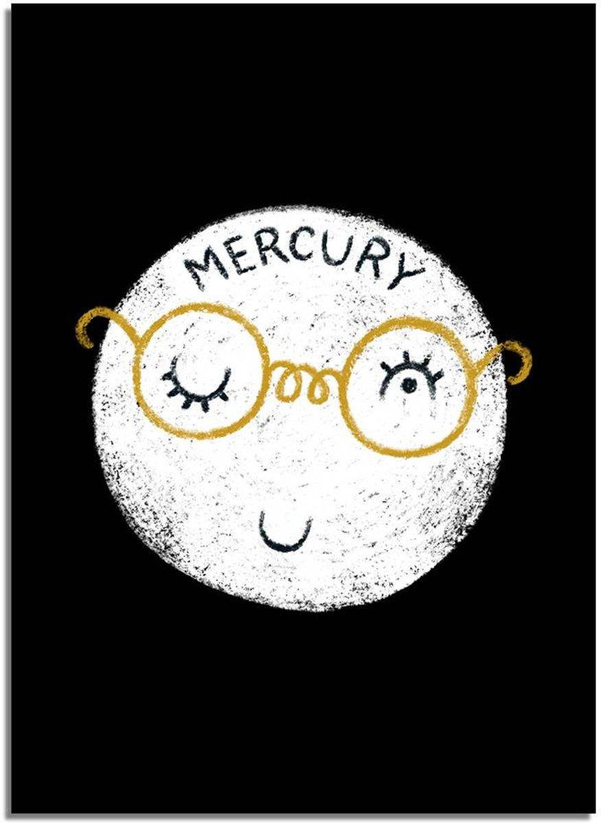 Kinderkamer poster Mercurius DesignClaud - Planeten serie - Zwart wit geel- A2 poster kopen